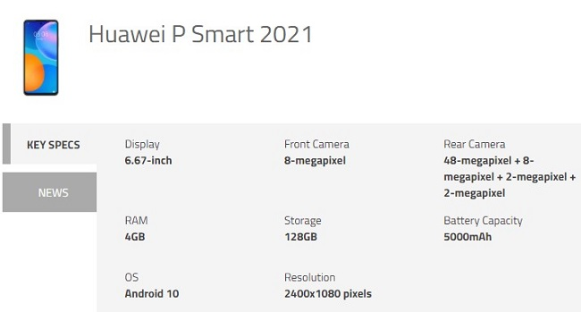 Huawei P Smart 2021 Specifications