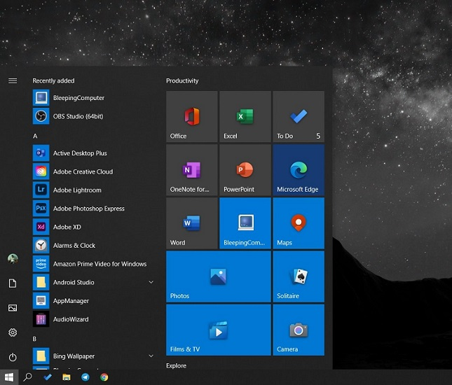 New Windows 10 Start Menu Design