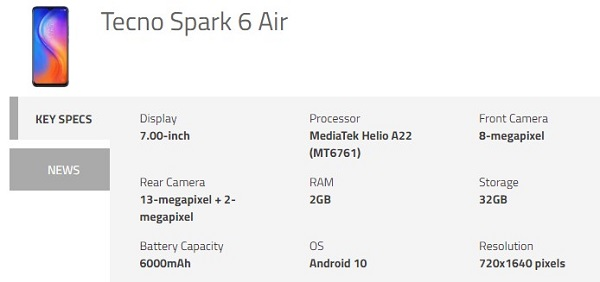 Tecno Spark 6 Specifications
