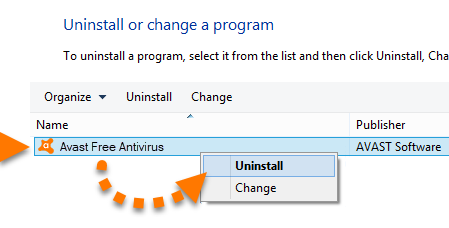 Uninstall Avast Program