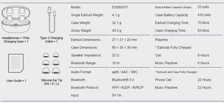 1More Colorbuds Specifications