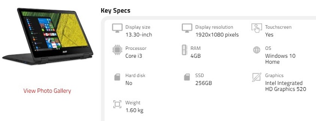 Acer Spin 513 Specifications
