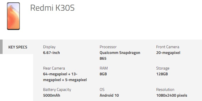 Redmi K30S Specifications