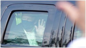 Trump Waves to Supporters From Car