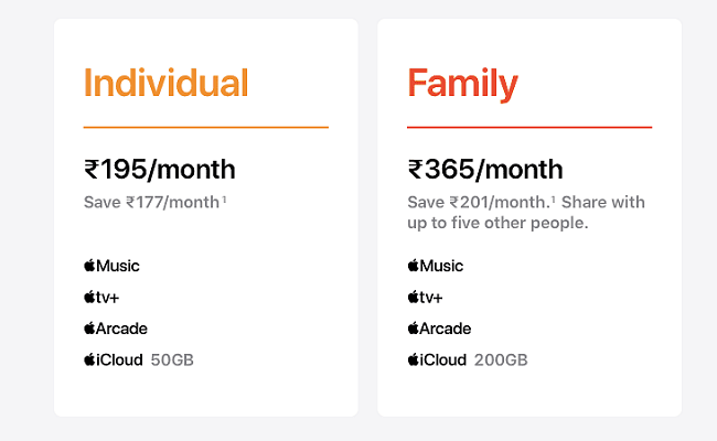 Apple One Price In India