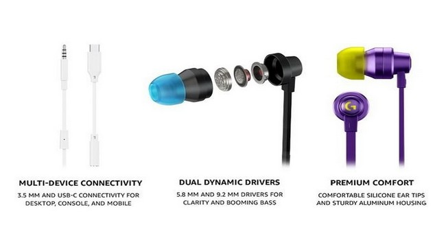 Logitech G333 Wired Gaming Earphones Features