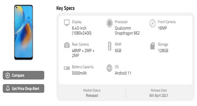 Oppo F19 Specifications