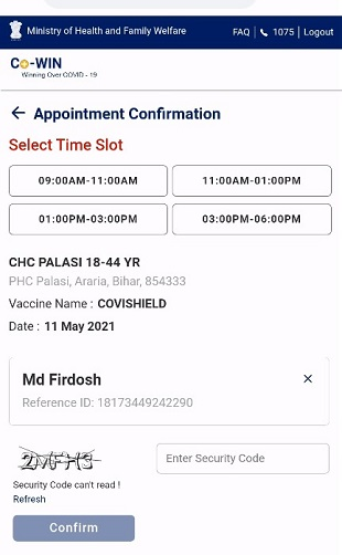 Cowin Appointment Confirmation