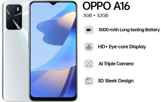 Oppo A16 India Features